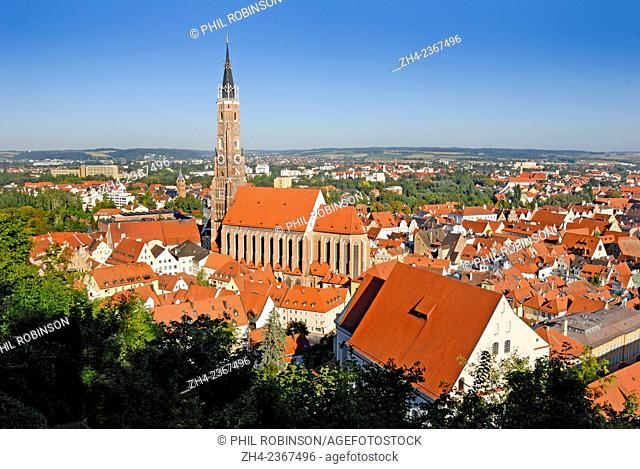 Landshut, Bavaria, Germany. View over town including Church of St Martin (the tallest brick-built structure in the world) seen from Burg Trausnitz (Castle)