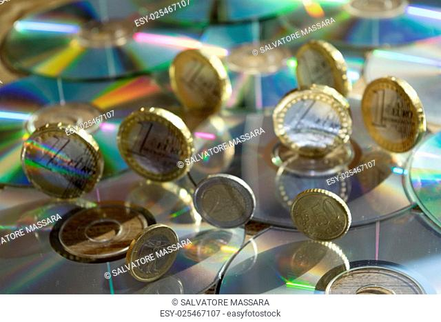 monetary system and concept of economy with cd rom and one money