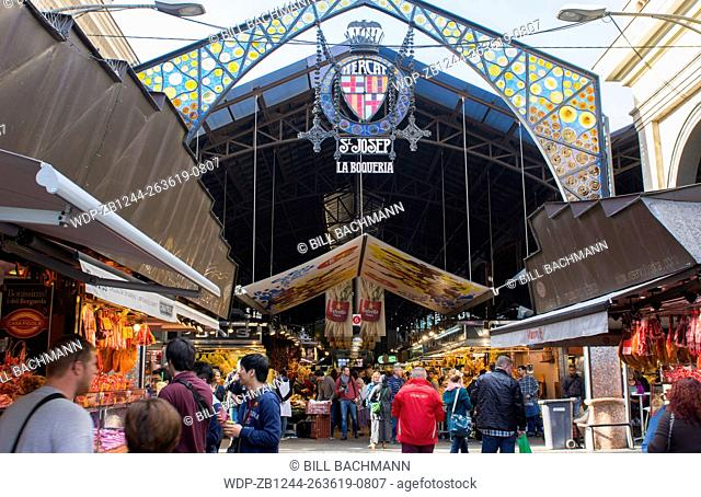 Barcelona Spain market called St Joseph Market or La Boqueria front entrance sign