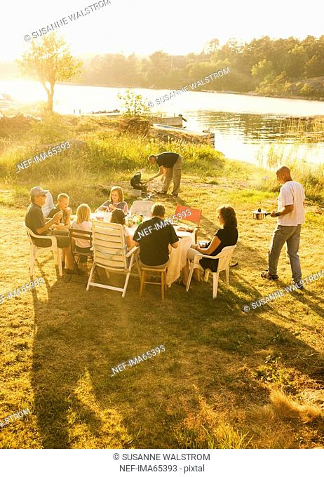 A picnic a summer night Sweden