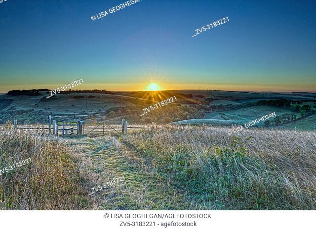Sunrise at Devil's Dyke, Brighton, East Sussex. Uk