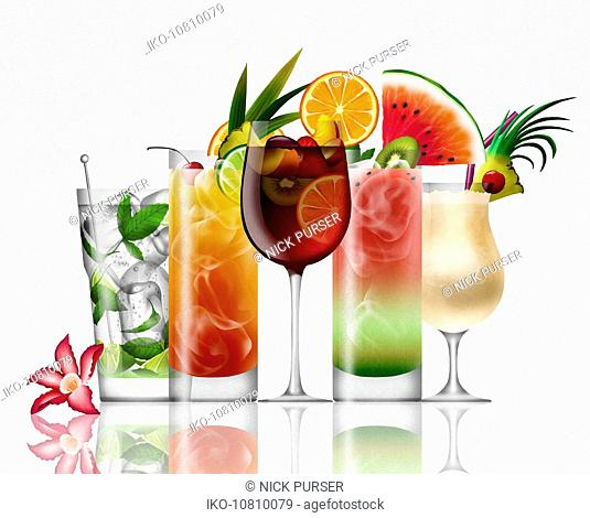 Row of different tropical cocktails on white background