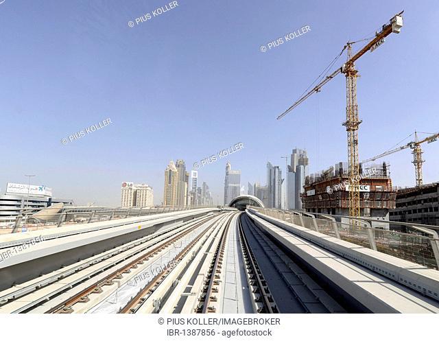 Metro rail, Dubai, United Arab Emirates, Middle East