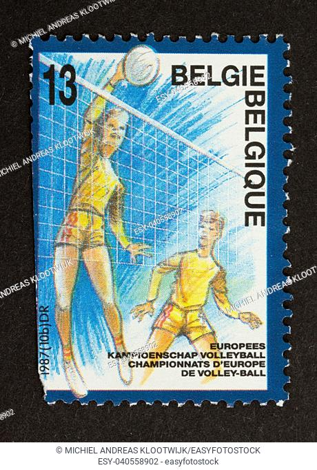 BELGIUM - CIRCA 1980: Stamp printed in Belgium shows a picture of the european volley-ball championship, circa 1980