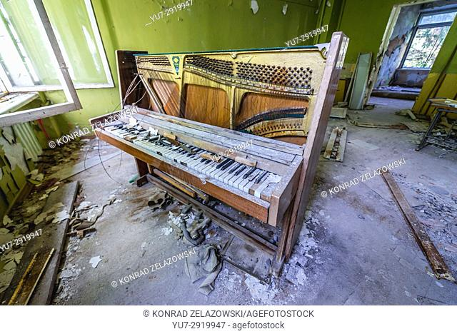 Music class in abandoned high school of Chernobyl-2 military base, Chernobyl Nuclear Power Plant Zone of Alienation in Ukraine