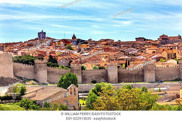 Avila Ancient Medieval City Walls Castle Swallows Castile Spain. Avila is described as the most 16th century town in Spain