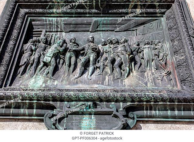 BRONZE BAS-RELIEF SHOWING FIRST CONSUL NAPOLEON VISITING THE FACTORIES OF ROUEN'S INDUSTRY IN 1802, PLACE DU GENERAL DE GAULLE, ROUEN (76), FRANCE