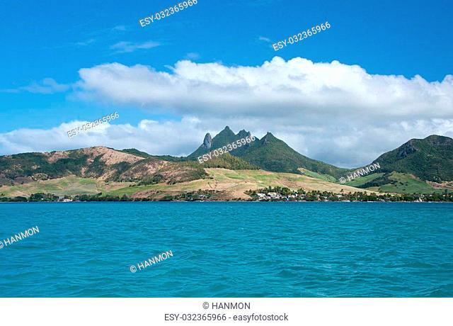 Panorama view of east coast of Mauritius