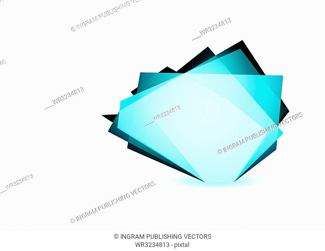 Blue glass shard icon with white background and copyspace