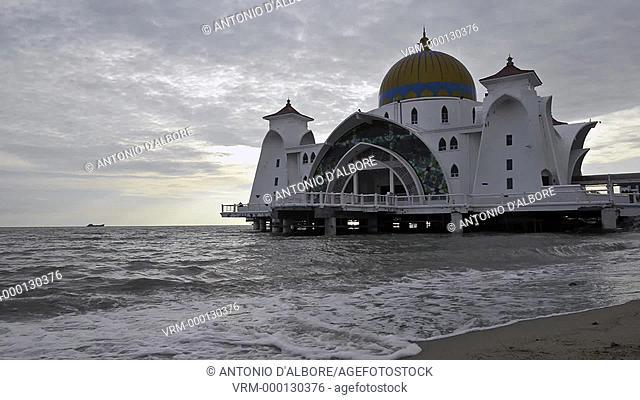 Malacca Straits Mosque at sunset. Malacca. Malaysia