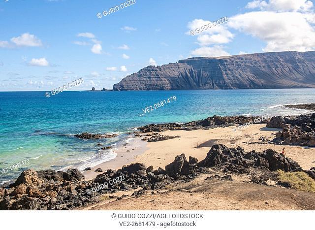 Spain, Canary Islands. La Graciosa . Barranco Conejos beach