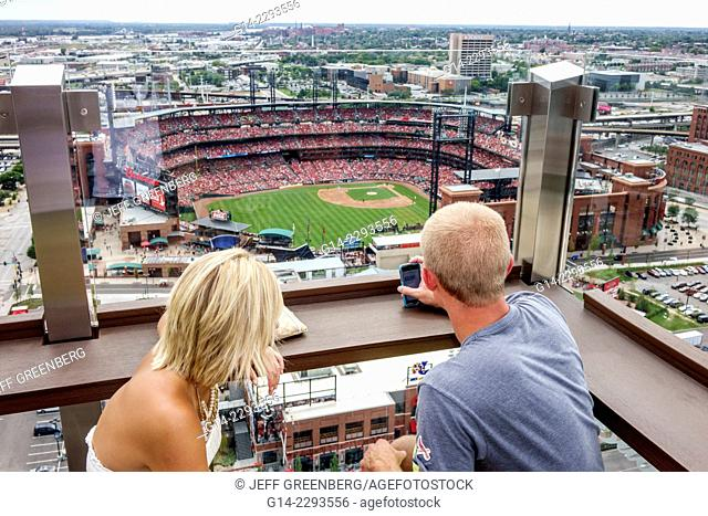 Missouri, Saint St. Louis, Busch Stadium, Cardinals ballpark, major league baseball, game, aerial, view, Hilton, hotel, rooftop, bar, Three Sixty, restaurant