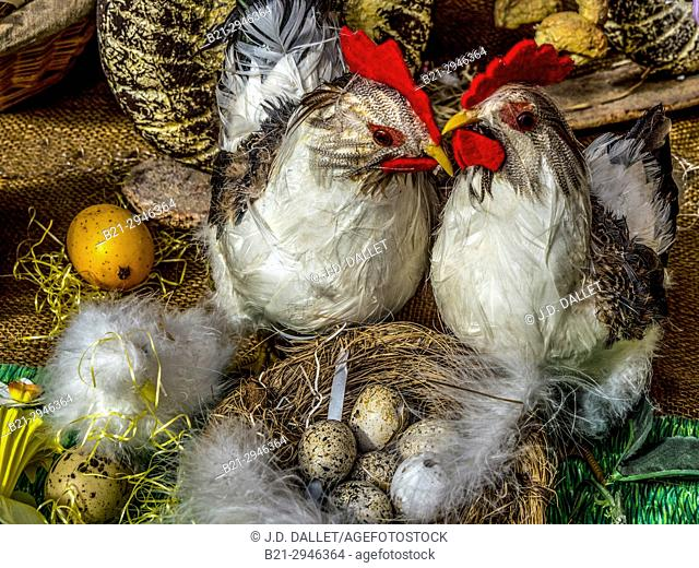 France, Centre, Vienne, Easter decoration in a bakery, at Lencloitre