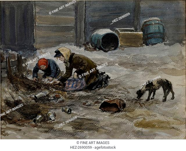 Hungry years in Petrograd (Drawn from nature), 1919