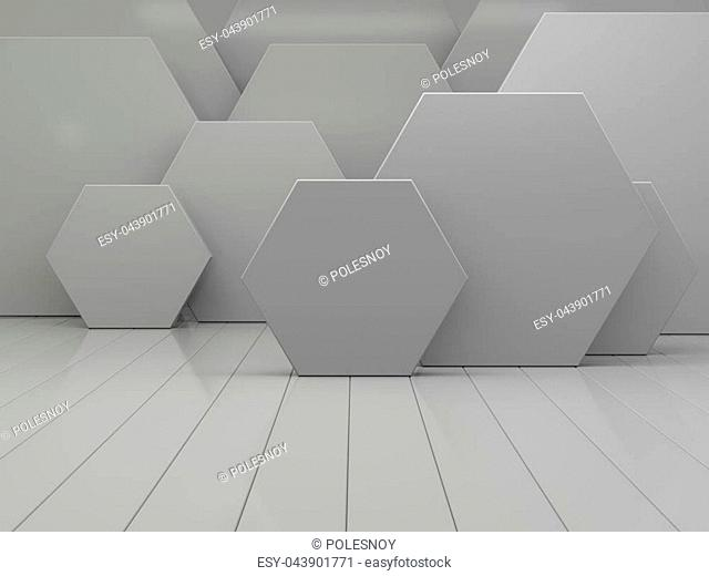 White abstract geometric hexagonal background. 3D rendering
