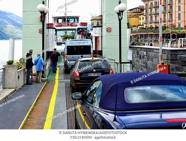 uploading of transport ferry in Bellagio, Province Como, Lombardy, Lake Como, Italy