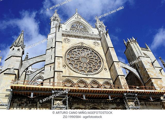 Cathedral, south facade, rose window. Leon, Spain