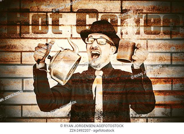 Vintage tin sign of an old fashioned gent cheering to hot coffee with boiling kettle and drinking mug. Brew-house Barista