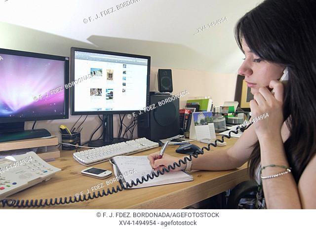 Teenage girl work at home
