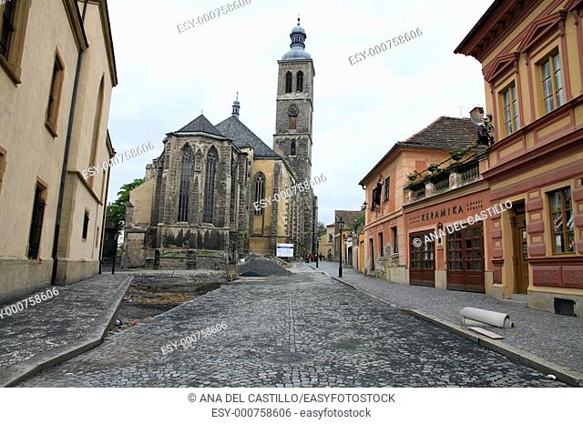 Archdeacon 's church of St  Jacob, Kutna Hora, Bohemia, Czech Republic, 15 May: New paved streets in the old city  May 15, 2010 in Kutna Hora Czech republic