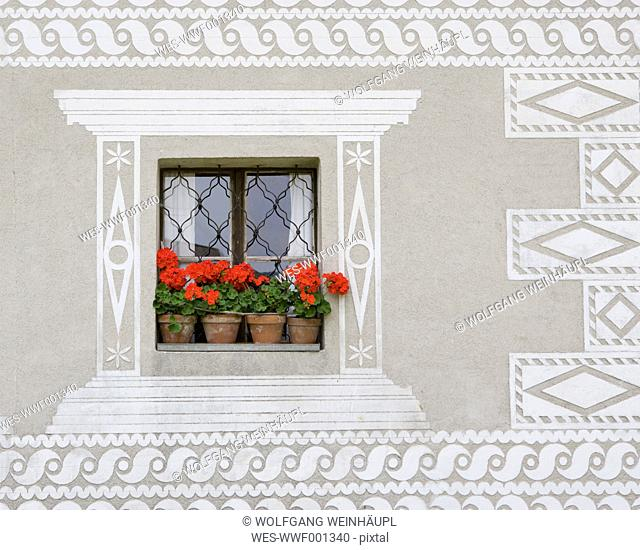 Austria, Styria, Stuebing, View of geraniums flower on window of farmhouse