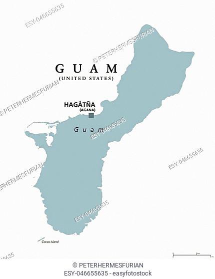 Guam political map with capital Hagatna, also known as Agana. Unincorporated and oganized territory of United States in western Pacific Ocean