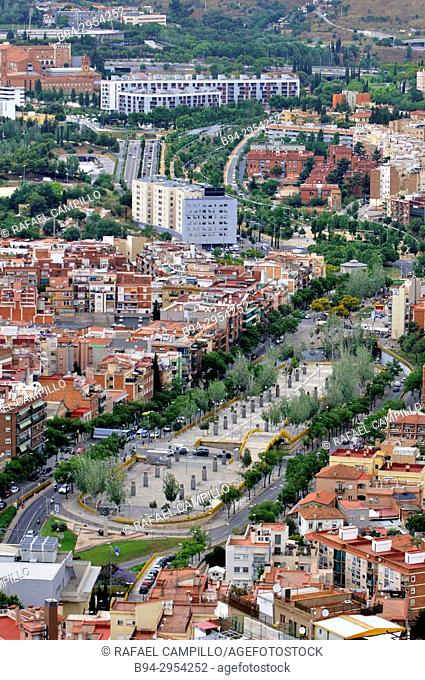 Overview of Barcelona from Turó de la Rovira area. Estatut avenue. Catalonia. Spain