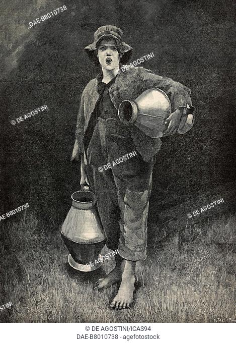 A Cornish milk-boy, engraving by Richard Taylor after a drawing by Marianne Stokes (1855-1927), from The Illustrated London News, No 2562, May 26, 1888