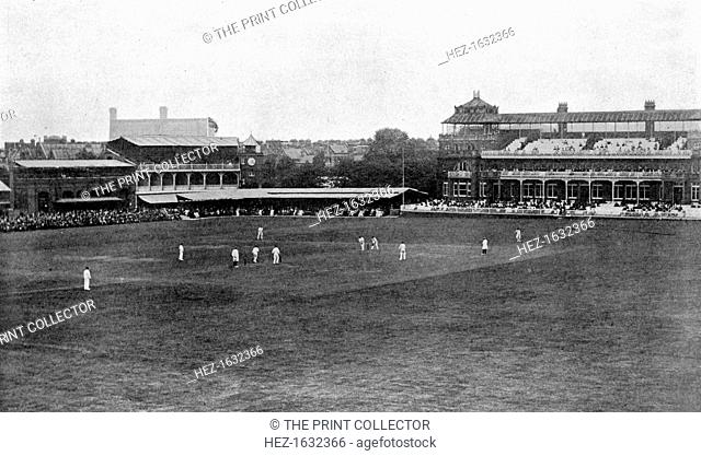 A cricket match in progress at Lord's cricket ground, London, 1912. From Imperial Cricket, edited by P F Warner and published by The London and Counties Press...