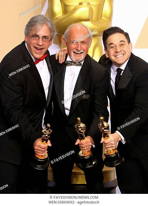 90th Annual Academy Awards - Press Room Featuring: Mark Weingarten, Gregg Landaker, Gary Rizzo Where: Hollywood, California