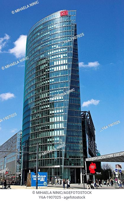 Head office of the German Railways at Potsdamer Platz, Berlin, Germany, low angle view