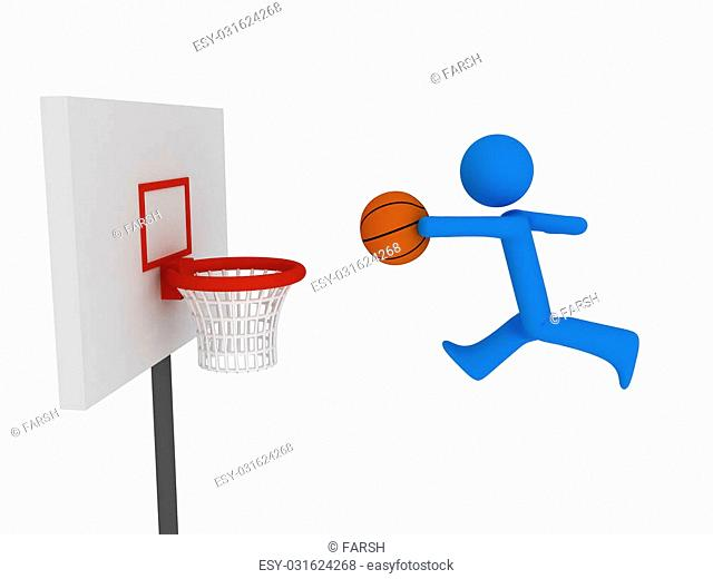 3d basketball player trying to made slam dunk