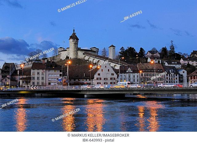Schaffhausen - the old town and the Munot castle in the dusk - Switzerland, Europe