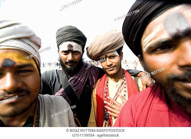 A group of Sadhus on Gangasagar island during the annual festival