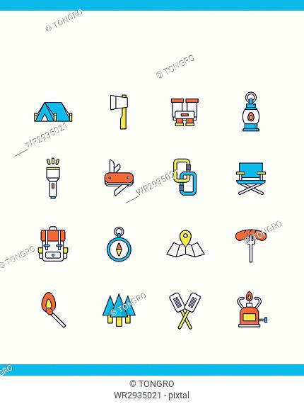 Various icons related to camping