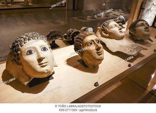 Sarcophagus tops. Egyptian Ptolemaic collection. Louvre Museum. Paris. France