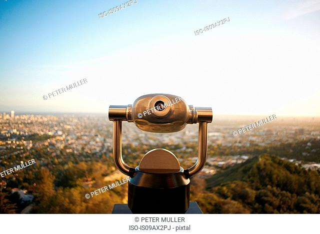 Coin-operated binoculars overlooking Hollywood, Los Angeles, USA