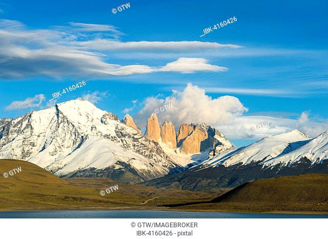 Cuernos del Paine and Amarga Lagoon, Torres del Paine National Park, Chilean Patagonia, Chile