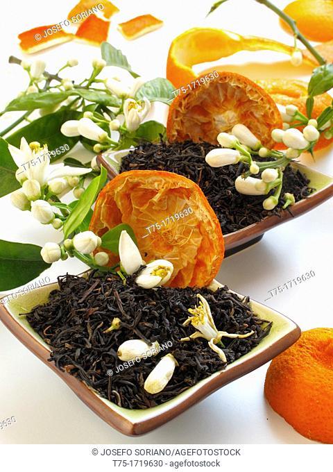 Black tea with orange and orange blossom
