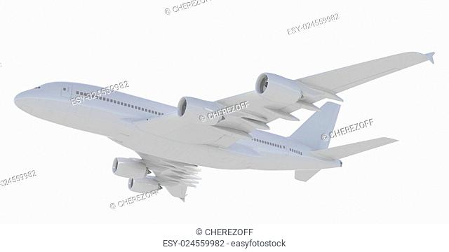 White passenger plane. A side view. Isolated render on a white background