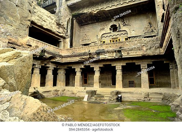 Do Thal temple of Ellora caves. Buddhist group. Ellora, Aurangabad, Maharastra, India
