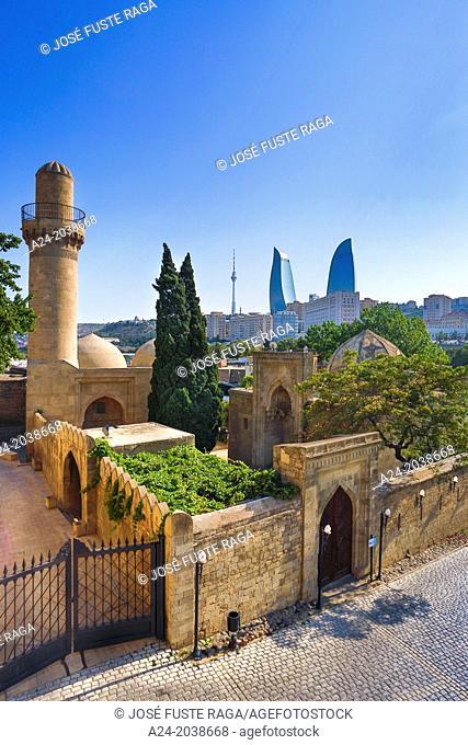 Azerbaijan , Baku City, Old Baku City (W.H.), Shirvan Shakh Palace and Flame Towers