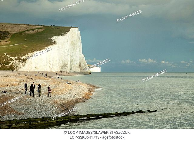 Autumn afternoon at Cuckmere Haven with the chalky cliffs of Seven Sisters in the distance