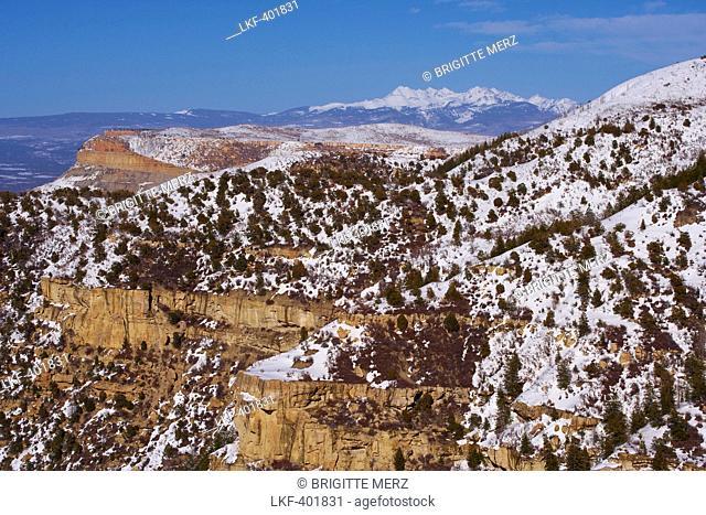 Prater Ridge and San Juan Mountains in spring, Montezuma Valley, Mesa Verde National Park, Colorado, USA, America