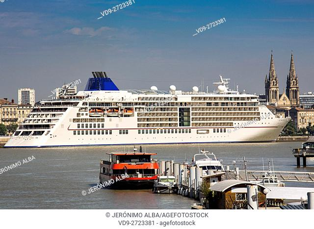 Cruise ships in the Garonne river harbour. Bordeaux, Gironde. Aquitaine France Europe