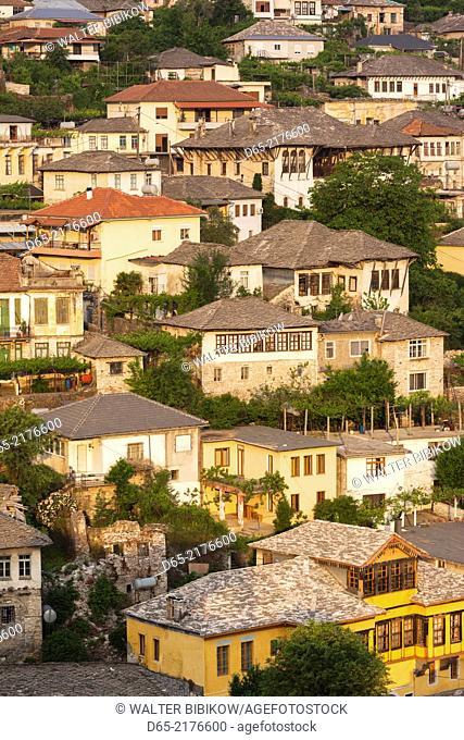 Albania, Gjirokastra, elevated view of Ottoman-era houses, dawn