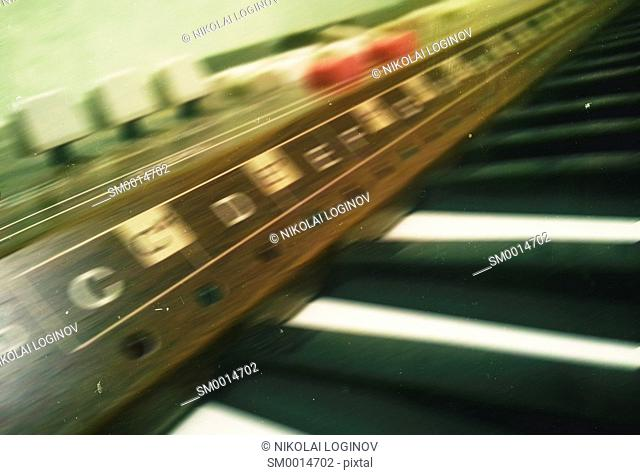 Horizontal vintage blur analog synthesizer postcard background backdrop
