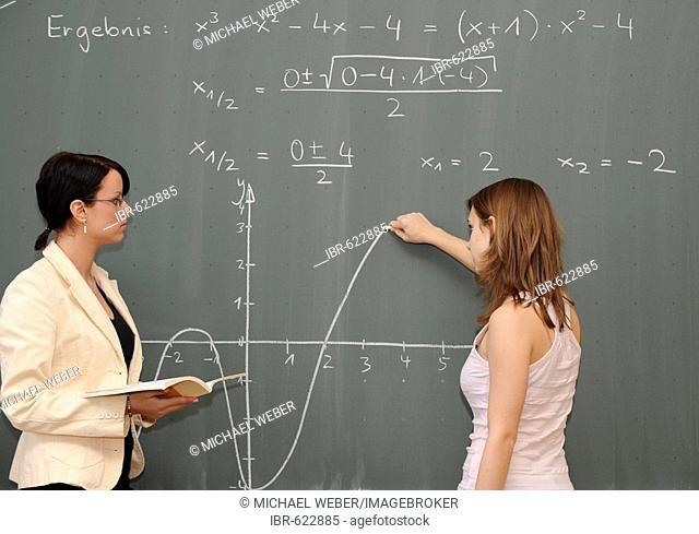Young female teacher teaching maths