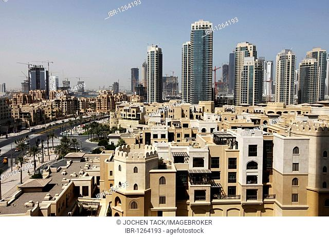 Apartments in Oldtown Dubai and skyscrapers in Downtown Dubai, United Arab Emirates, Middle East