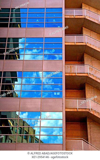 staircase and stained glass windows of office building, 22 @, Barcelona, Catalonia, Spain